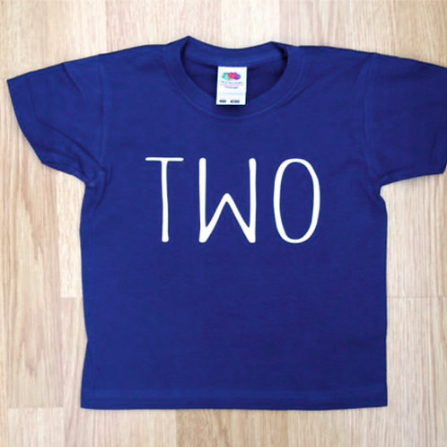 Children's t shirt TWO - perfect for a  two year old