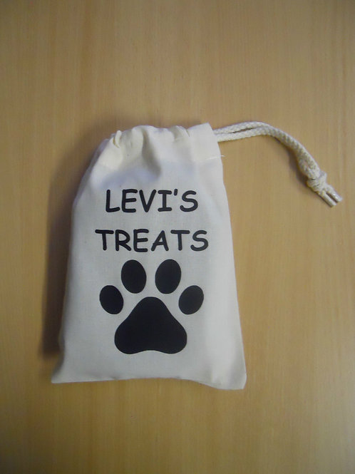Dog / Cat Cotton drawstring treat bag with paw print & personalise with name
