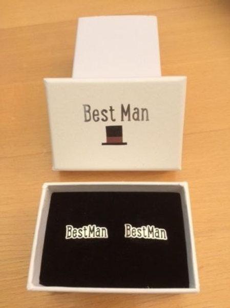 Best Man  Gift Silver & Black Colour Metal Cufflinks & presentation box