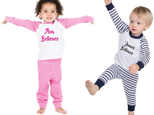 Baby / Toddler Christmas pyjamas personalised with name