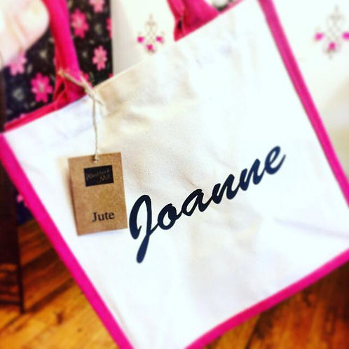 Lovely two tone Westford Mill Midi Jute Bag Plain or personalise print fab gift