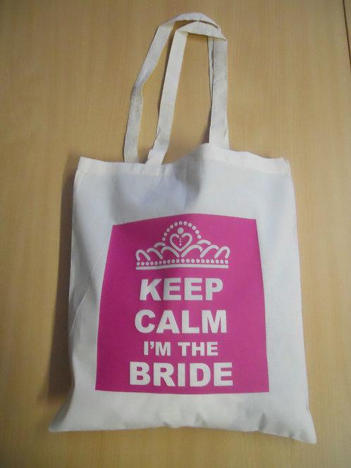 KEEP CALM I'm The BRIDE cotton shoulder bag wedding / hen party / keepsake