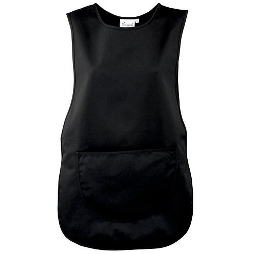 Black Tabard with rounded pocket in black with logo on breast