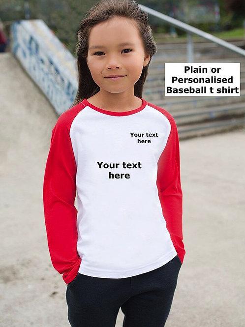 Children's Long Sleeve Two Tone Baseball T Shirt Plain or Printed 5-6 - 11-12 yr