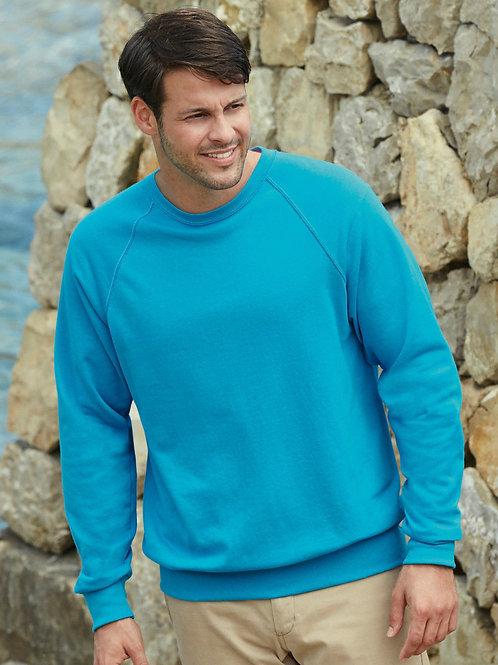 Fruit of the loom Men's lightweight raglan sweatshirt plain or printed