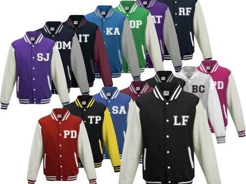 Children's Varsity Letterman style college jacket plain or personalised