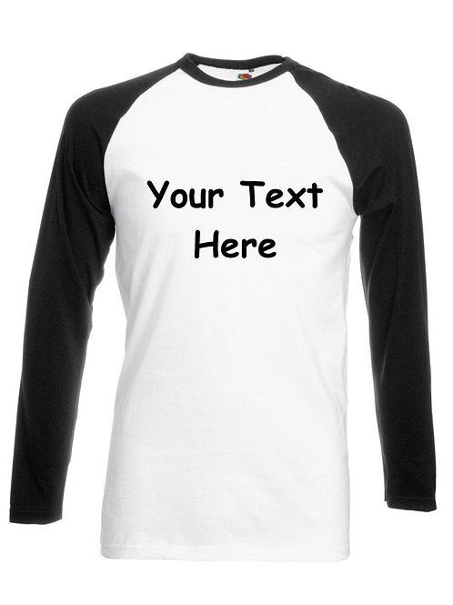 Long Sleeve Two Tone Baseball T Shirt Plain or Personalised