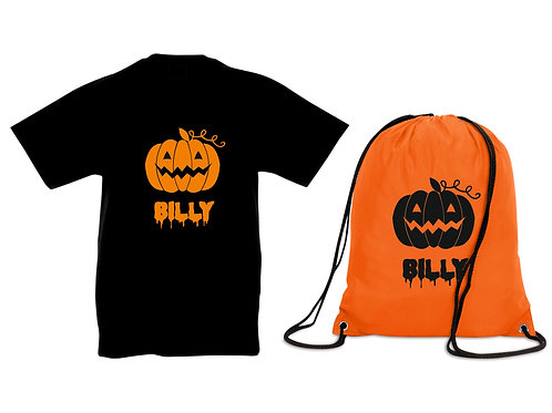 Halloween Black T Shirt and gym bag personalised with Printed Name