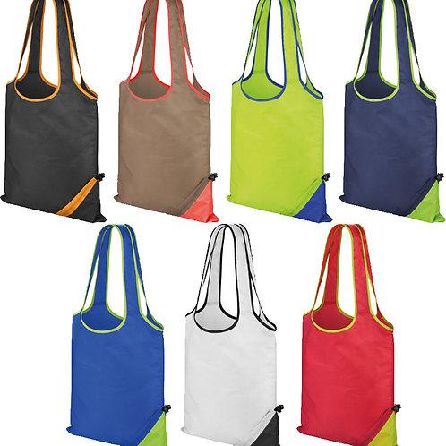 Trendy lightweight contrast colours shopper bag - compact