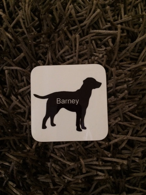 Labrador dog silhouette coaster and personalise with a name