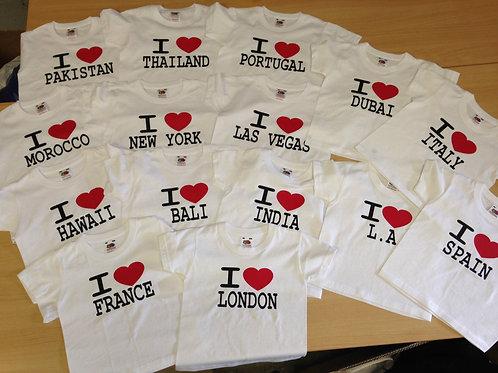 Children's I Love London / Disney / Florida / New York / Benidorm  T shirt