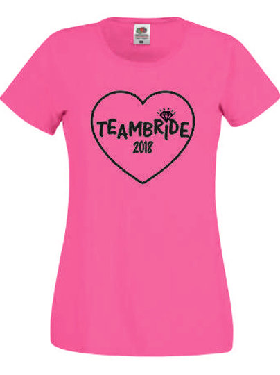 Team Bride Hen Do Hen Party Lady Fit T Shirt With year and ring design