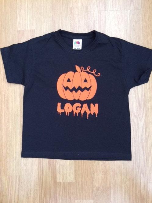 Halloween Black T Shirt personalised with Printed Name & Pumpkin
