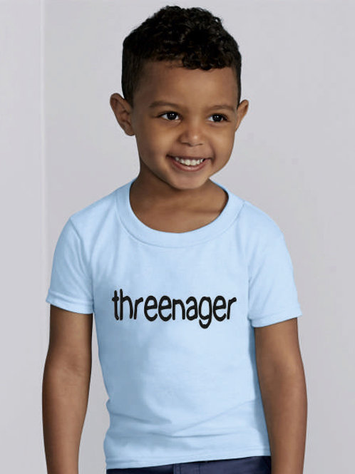 Threenager fun t shirt for a 3 year old in light blue or light pink