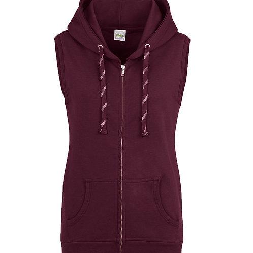 AWDis Girls ladies Sleeveless Zoodie hoodie plain or personalised with print