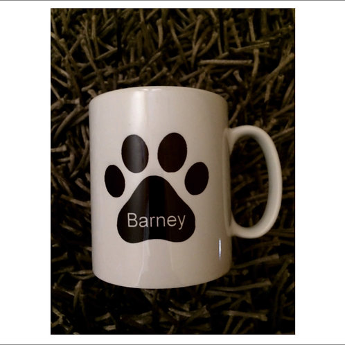 Dog Paw Print Mug and personalise with a name