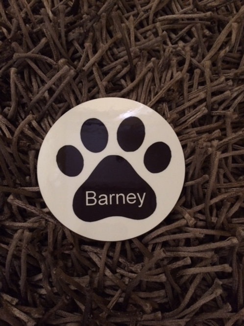Dog paw print silhouette coaster and personalise with a name