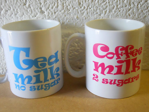 Why not personalise a mug as a gift with a name and how they like coffee or tea