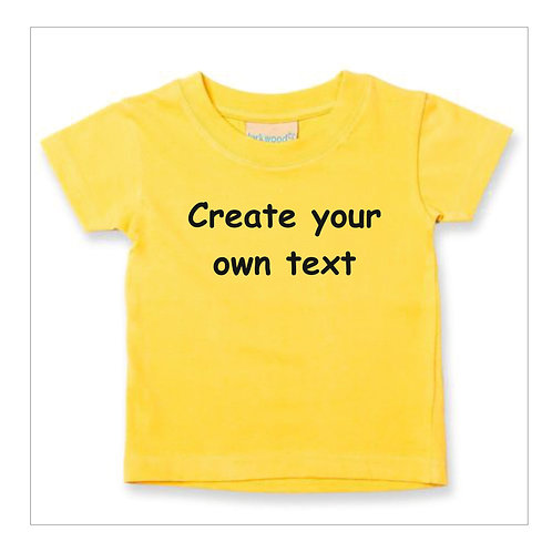 Baby / Toddler Plain or Printed 100% Cotton Personalised  T Shirts