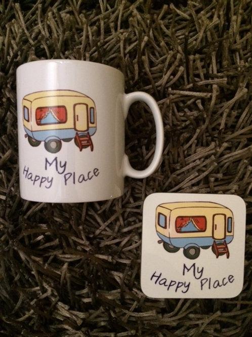 Mug & Coaster Gift Set  - My Happy Place Caravan