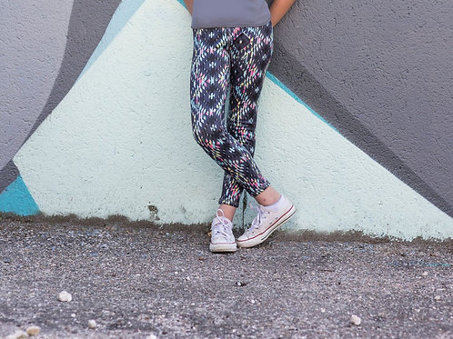 Kids Skinny Fit Reversible Workout Dance Leggings