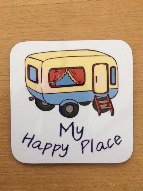 My Happy Place Caravan Glossy Coaster