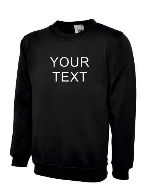 Uneek UC203 set in sweatshirt personalised print or embroidered text workwear