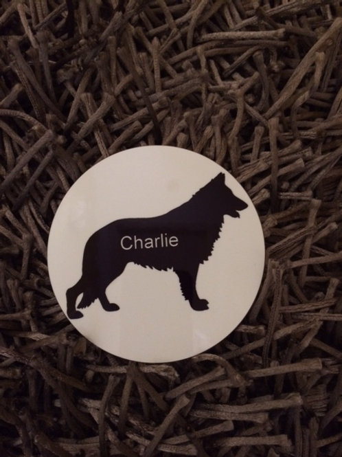 Alsatian dog silhouette coaster and personalise with a name