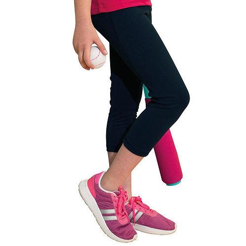 Girls cropped capri leggings in black - fitness sport dance