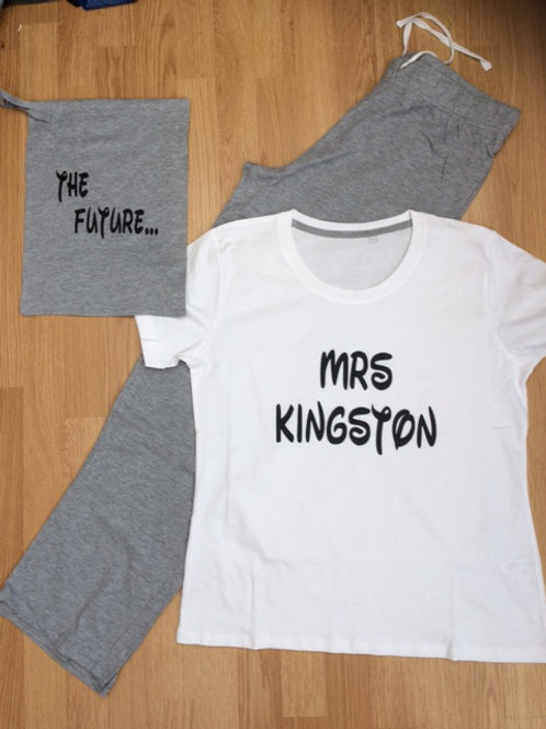 Personalise The Future Mrs .. Bride to be name jersey pyjamas in a bag hen party