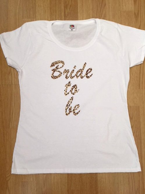 Hen party black or white t shirt with leopard print