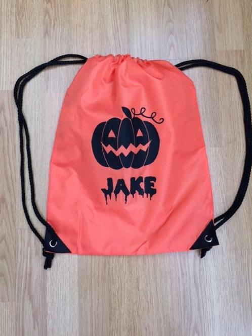 Personalised Halloween pumpkin gym bag - add a name