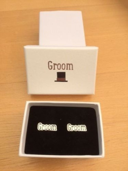 Groom Gift Silver & Black Colour Metal Cufflinks in a presentation box