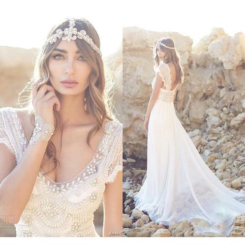 Bohemian Wedding Dress Chiffon Beaded Crystal Short Sleeve Beach ...