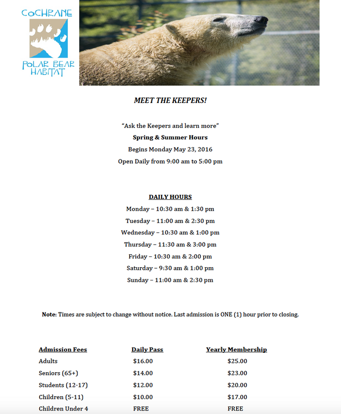 "Polar Bear Habitat ""Meet the Keeper"" Hours"