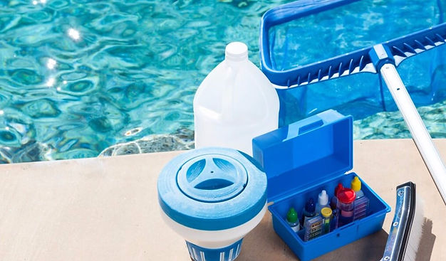 Pool service chemicals and testing kit to maintain balance in pool