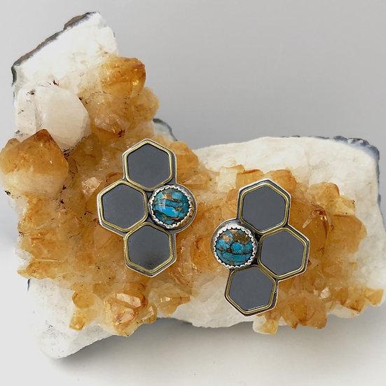 Half Hive Post Earrings - Silver Geometric Post Earrings