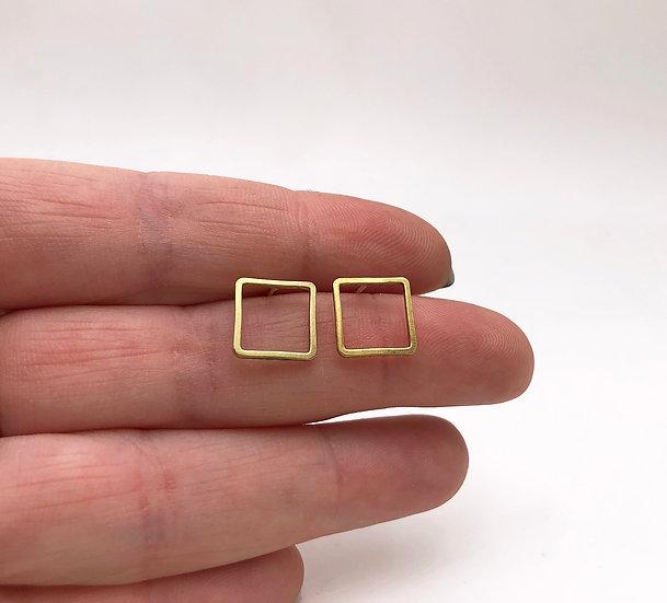 Brass Square Earrings