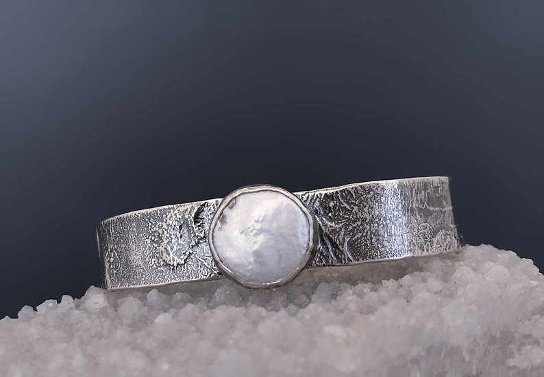 Sterling Silver White Coin Pearl Cuff Bracelet