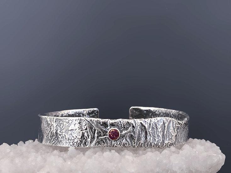 Silver Purple Turquoise Cuff Bracelet