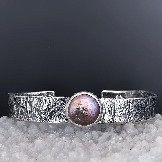 Sterling Silver Black Coin Pearl Cuff Bracelet