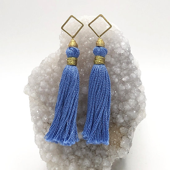 Tassel Earrings With Brass Square