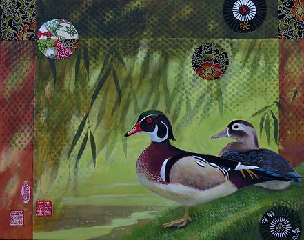 "Wood_Ducks_under_Willow_11""X14""_acrylic-"