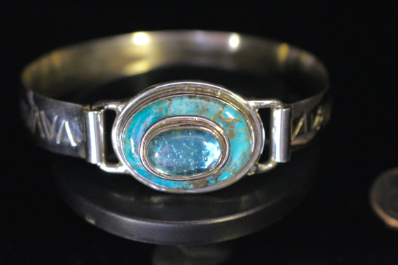 Turquoise and Topaz Mens Bracelet