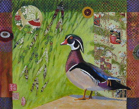 "Wood_Duck_under_Willow_11""x14""_acrylic-c"