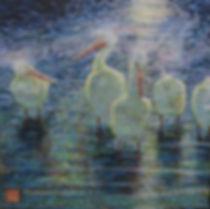 """Pelicans_in_Moonlight_12""""X12""""_acrylic-co"""