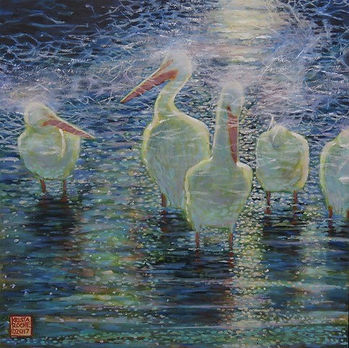 "Pelicans_in_Moonlight_12""X12""_acrylic-co"