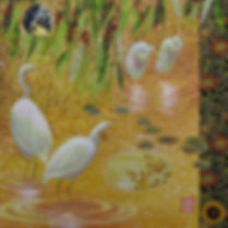 """Wetland Tapestry  12""""X12"""" acrylic-collag"""
