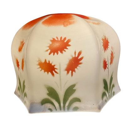 ORANGE FLOWERS GLASS LAMPSHADE