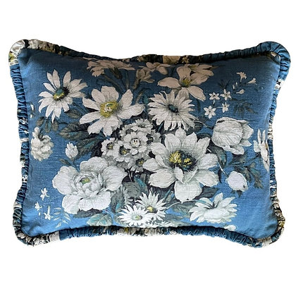 A SET OF THREE CUSHION COVERS BLUE WHITE FLOWERS